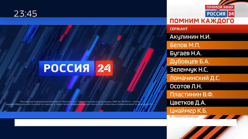 Телеканал «Россия 24» в эфире перечислит имена погибших